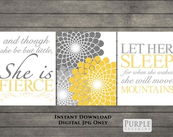Let Her Sleep She is Fierce She Will Move Mountains Mustard Yellow Gray Nursery Wall Art Decor Wall Art Printable Instant Download Files