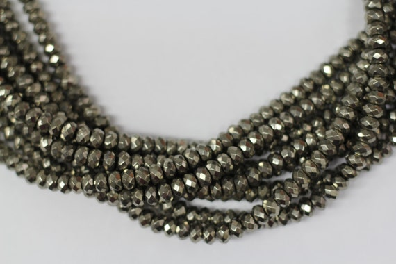 """Gold Pyrite 8mm faceted roundel beads 16"""" length strand"""