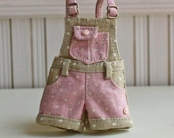 PO - Anniedollz Blythe Outfits Short Pants Overalls - Fudge