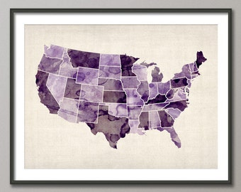 Watercolor United States Map (USA), Art Print (573)