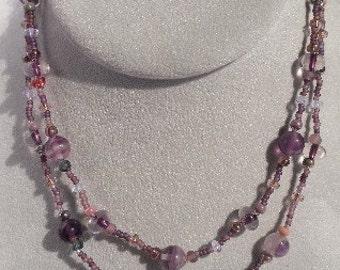 Beaded Purple Flourite 2 Strand Necklace