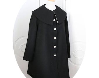 Black wool winter coat trapeze coat form trapeze, simple black wool coat, coat three quarter black wool