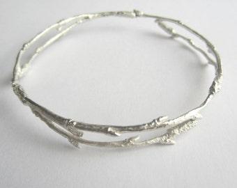 Silver Twig Bangle, arctic twig bangle, birch twig bangle, nature jewellery, woodland jewellery, ice jewellery, winter jewellery,