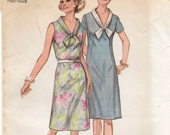"""A Fitted A-Line, Short Sleeve / Sleeveless, Contrast V-Neck Tie Collar Dress Pattern for Women: Size 14-1/2 Bust 37"""" • Simplicity 9330"""