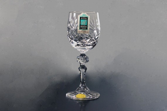 Avitra Crystal Cordial Glass, Made in Poland, Cut Glass, Clear Glass, Barware, Original Stickers Attached, Leaded Crystal, Wine Glass