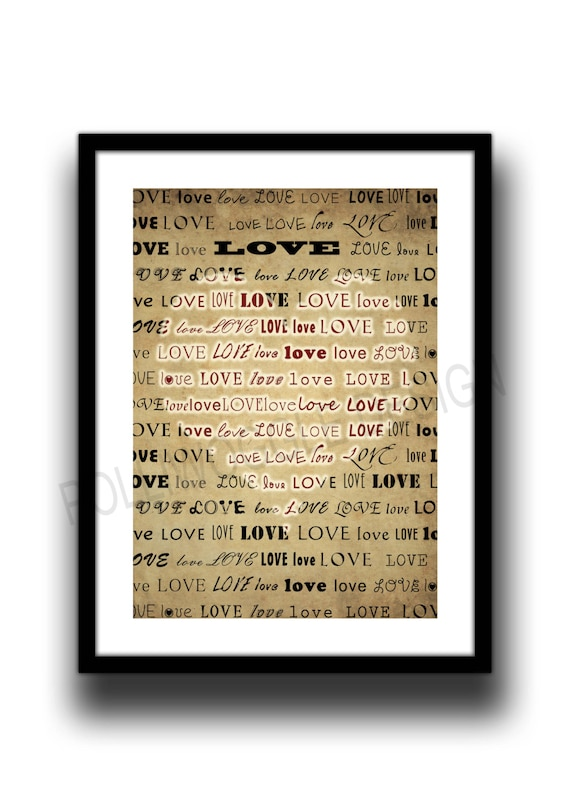Love Heart Poster Print Valentines Day wall decor