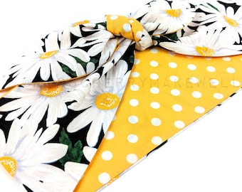 Large Daisy Floral Yellow Polka Dot Rockabilly Vintage 1950's Inspired Head Scarf Hair Tie Headscarf Hair Bow by Miss Cherry Makewell