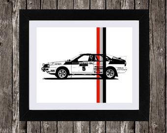 "Audi Poster, Audi Quattro, Garage Decor, Rally Car, Ur-Quattro, Retro Car Poster, Audi Car Art, Instant Download, 8x10"", 14x11"""