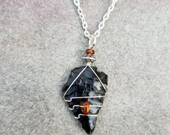 Native American Obsidian Arrowhead Wire Wrapped Pendant With Genuine Prehistoric Amber