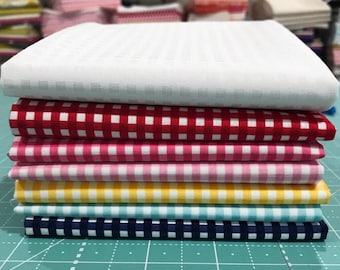 "Fat Quarter  Bundle 1/8"" Gingham by Riley Blake Designs- 7 Fabrics"
