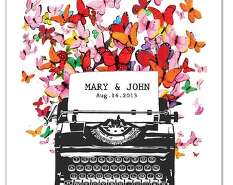 """Mr and Mrs -  Personalized ART Print 8"""" x 10""""   VintageTypewriter, words, pop art, posters with typewriters, wedding, anniversary"""