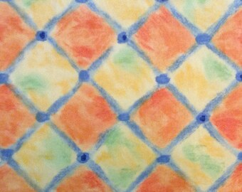 HOME DEC FABRIC / Orange & Yellow Geometric / Upholstery - Curtains - Pillows - Totes  / 2 yards 6 inches / Vintage 1997