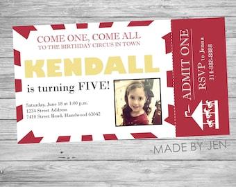 Birthday Invitation, Kid Circus Ticket, Red and Yellow, CUSTOM 5x9