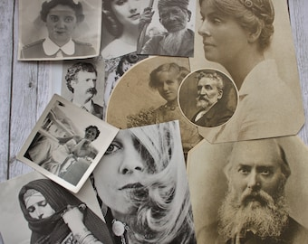 12 portrait Sepia and Black and white pictures, cut out ephemera pictures