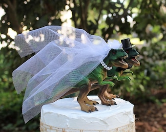 Dinosaur Wedding Cake Topper, T-Rex Cake Topper, Dinosaurs-Jurassic Park-Prehistoric Bride and Groom Animal Cake TopperWedding Topper