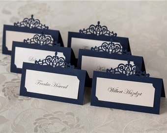 Laser cut navy name place card for wedding / Party (24pcs)