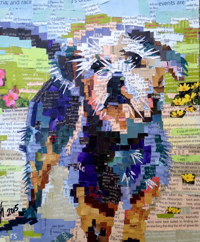 Collage de Arte Original del corte revista del perro salidas