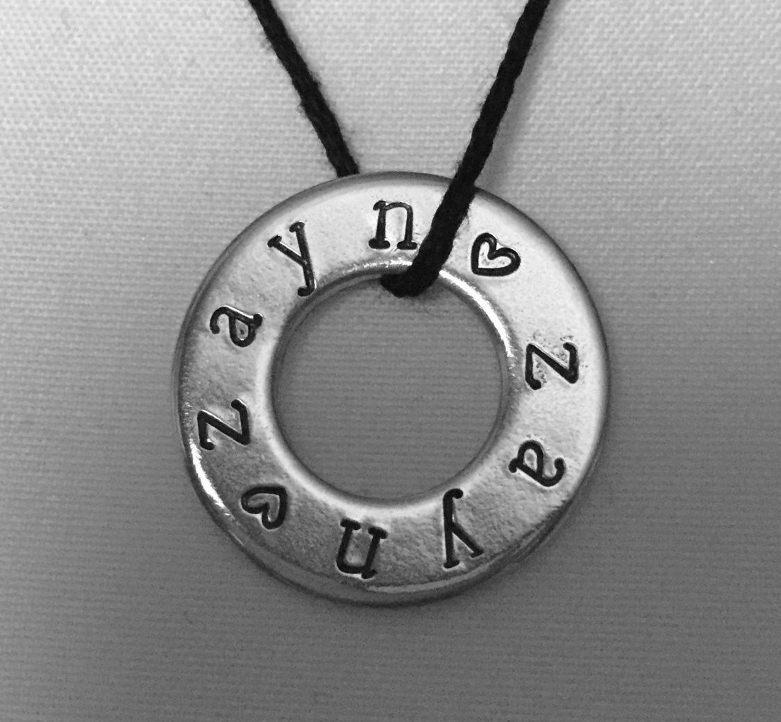 Zayn necklace hand stamped washer jewelry custom hand stamped zoom aloadofball Choice Image