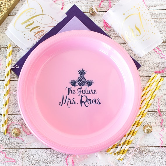 The Future Mrs Personalized Plates Bridal Shower Bachelorette Party Pineapple Party Tableware Custom Plastic Plates Baby Shower Wedding Cake from ...  sc 1 st  Etsy Studio : custom plastic plates - Pezcame.Com