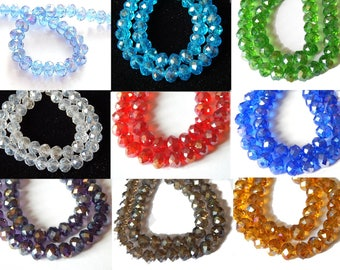 10 faceted beads 8mm glass, choose colors