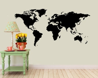 World Map vinyl Wall DECAL- interior design, sticker art, room, home and business decor