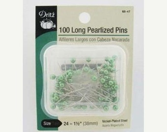 20% off thru Apr 24th DRITZ - 100 long PEARLIZED straight PINS green pearl heads 1.5 inches long