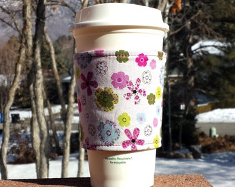 FREE SHIPPING UPGRADE with minimum -  Fabric coffee cozy / cup holder / coffee sleeve - Spring bouquet
