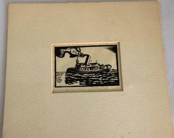 1934 Wood block print, signed by artist, 2x3 inch print, 7 inch mat, black white, artwork, W. McSmall, original art, boat print