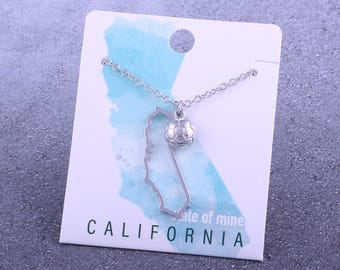 Customizable! State of Mine: California Soccer Silver Necklace - Great Soccer Gift!