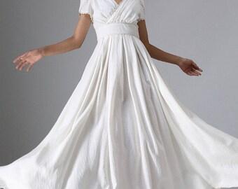 boho wedding dress, white long dress, prom dress, women linen dress, maxi dress, womens dresses, empire waist dress, party dress 959