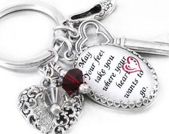 Inspirational Quote Key Chain, Glass Keychain, Keychain Jewelry, Key Fob, Quote Keyring