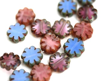 15pc Picasso Flower beads MIX in Purple, Blue, Pink, 9mm czech glass flat daisy, table cut, rustic floral beads - 0941