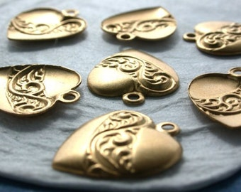 Raw Brass Heart Stampings, Vintage Style Heart Charms, Made in USA ~  STA-186