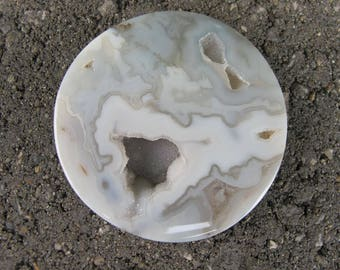 Exceptional Tube Agate designer cabochon in shades of white. Round moon like cab. 45 mm. High polish stone. Druzy.  117L0023