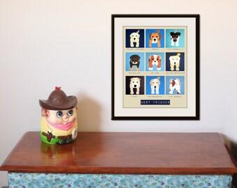 Art for childrens wall art for kids. Blue nursery art Puppy dog prints boys room decor. Pet art, dog art. Boys nursery decor by WallFry