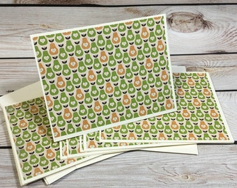 8 Pear Note Cards, Blank Note Card Set, All Occasion Stationery Set, Handmade Note Card Gift Set, Thank You Card Set