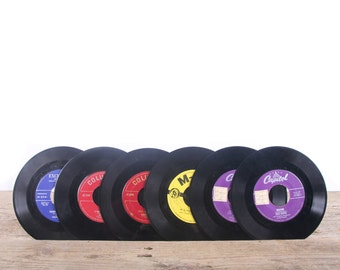 6 Vintage 45 Records / Colorful Records / Antique Vinyl Records Decorations / Old Records / Record MGM Capitol Columbia Excellent