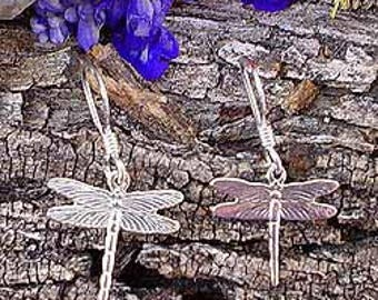 Sterling Silver Dragonfly Earrings, .925 Silver Small Dragonfly Jewelry - SE-1083-FEW