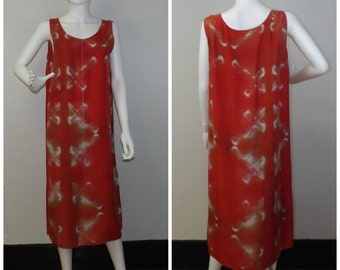 Red Hand Dyed Silk Dress  - One-of-a-Kind