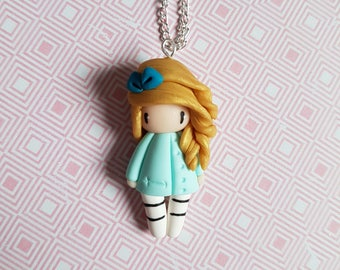 """Necklace little girl """"golden hair, Aqua green dress and bow on the head"""""""