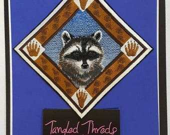 """Raccoon Embroidered Patch 4.8"""" x 4.8"""""""