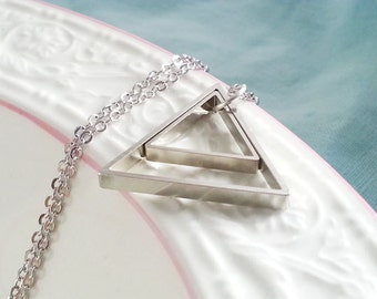 Double Triangle Necklace. Geometric Necklace. Triangle Necklace. Large Triangle. Geo Necklace. Layering Necklace. Geo Necklace. Modern