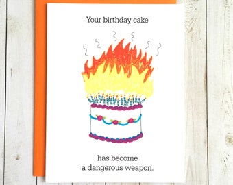 Funny Birthday Card, Birthday Cake Card, Funny Birthday Card For Her, Birthday Card Funny, Birthday Card For Him, Birthday Card Friend