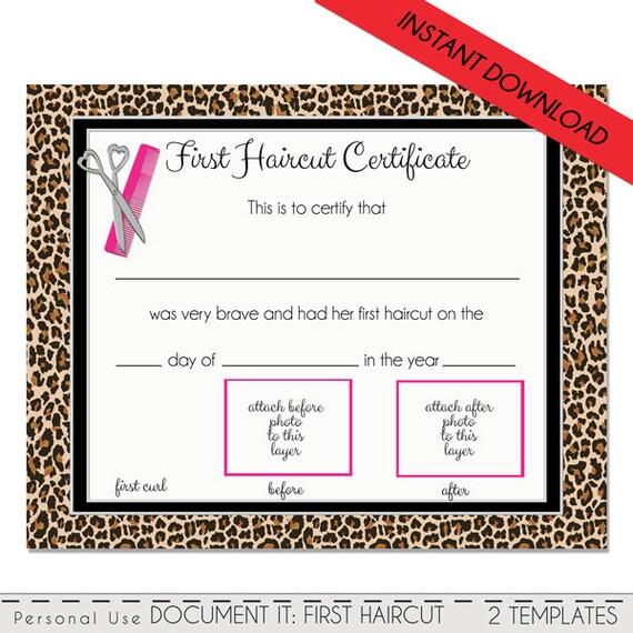 First Haircut Certificate Cheetah Baby First Haircut Photo
