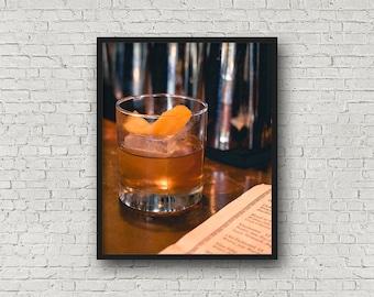 Alten gestaltet Cocktail Print / Digital Download / Fine-Art Print / Home Decor / Farbe Fotografie / trinken Fotografie / Küche drucken