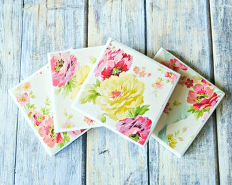Spring Flowers Coasters - Floral Coasters - Easter Gift for Her - Spring Home Decor - Gift for Hostess - Spring Coasters - Drink Coasters