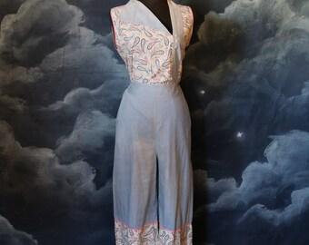 SALE - Vintage 1930s Cotton Paisley Print 2-piece Pants Set Beach Pajamas - Size Medium