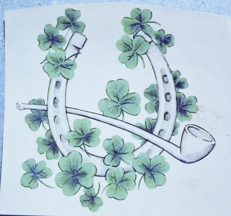 Vintage Water Mount Decals - St. Patricks Day Shamrocks, Horseshoe ...