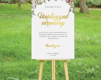 HONEYBEE SUITE - Printable Custom Wedding Unplugged Ceremony Sign Poster | Rustic Florals Bees & Butterflies | Faux Gold Foil Calligraphy