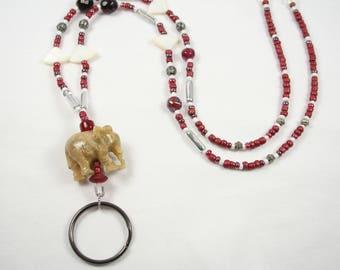 Crimson and White Glass Beaded Lanyard Badge ID Key Holder Alabama Roll Tide Crimson Tide Elephant Retractable Breakaway Option